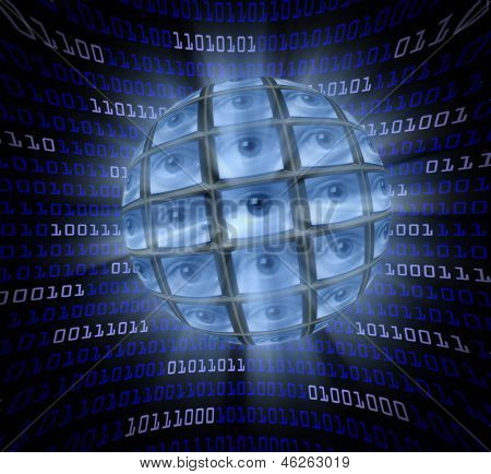 A Sphere Of Monitors With Eyeballs In A Curved Field Of Blue Digital Code