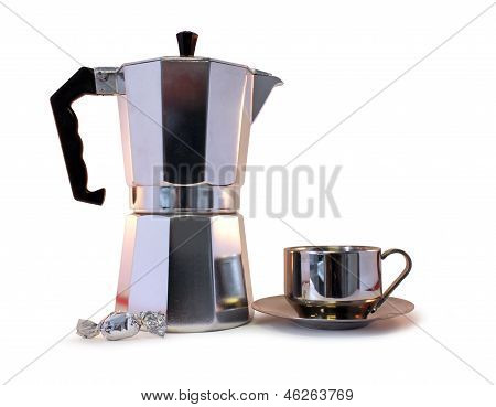 Coffee Pot, Candy And Cup