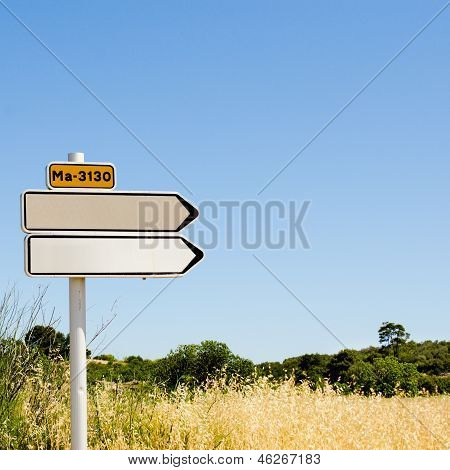 Empty Road Sign In The Field