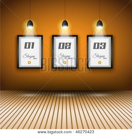 Elegant infographics design template with shopfront elements. lamp with directional spot lights and panel to past your products.