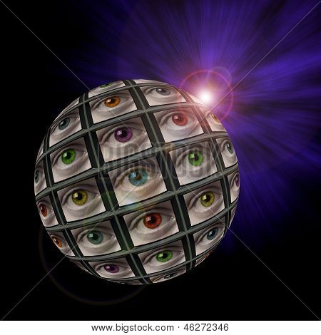 Sphere Of Video Screens Showing Multi-colored Eyes
