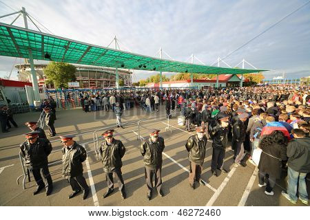 MOSCOW - SEP 7: A crowd of fans in front of Lokomotiv Stadium in Cherkizovo before game Russian team against Northern Ireland on Sept 7, 2012 in Moscow, Russia. The match ended 2-0 in favor of Russia.