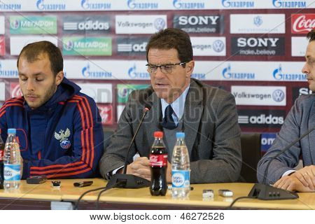 MOSCOW - SEP 7: Head coach of the Russian national football team Fabio Capello is interviewed on September 7, 2012 in Moscow, Russia.