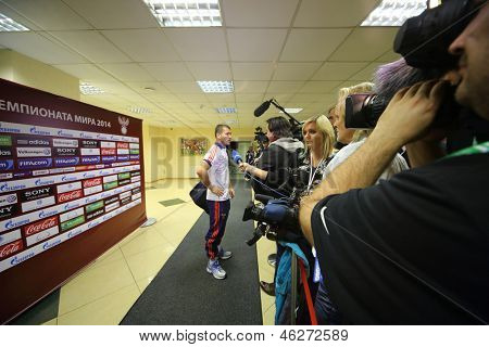 MOSCOW - SEP 7: Interview with Russian forward football team Alexander Kerzhakov on September 7, 2012 in Moscow, Russia.