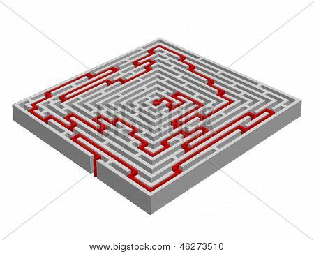 Vector Illustration Of A  Labyrinth/maze Made With 3D Effect