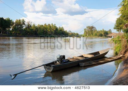 Boat On The Mekong River - Landscape