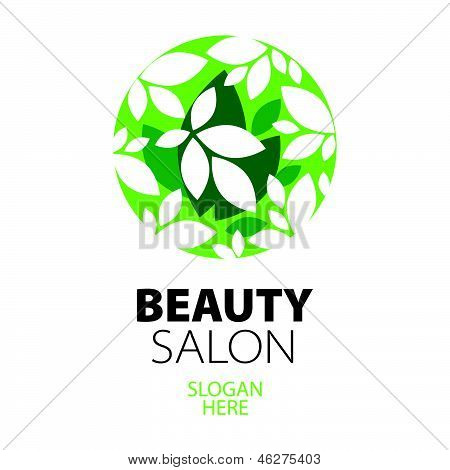Green Ball Of Leaves creative design For Beauty Salon