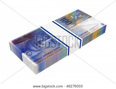 Swiss money isolated on white background. Computer generated 3D photo rendering.