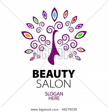 Stylized peacock lace design icon for beauty salon