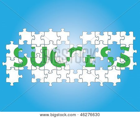 Partial jigsaw puzzle spelling the word success.