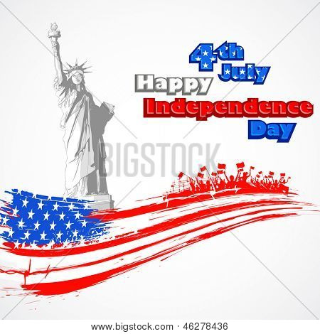 illustration of Statue of Liberty with American flag for Independence Day