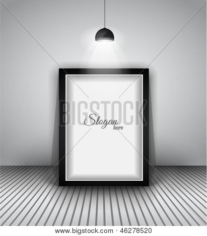 Modern interior art gallery frame design with spotlights. Shelf, spotlight with directional light, delicate shadows and clean background.