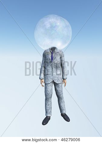 Man in suit with Bubble for head