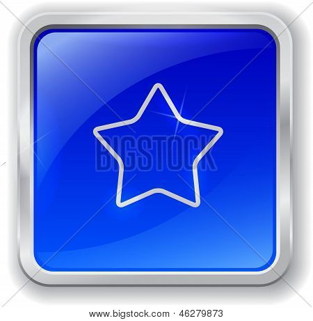Star Icon On Blue Button