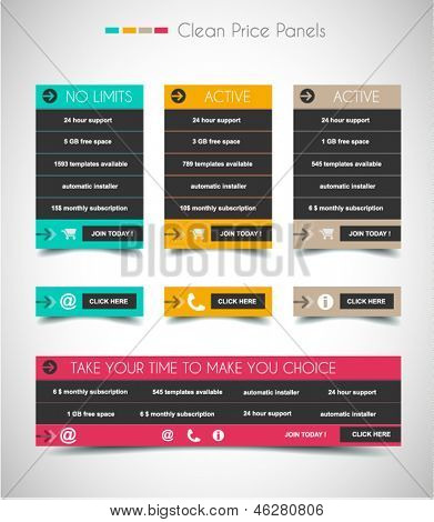 Web price shop panel with space for text and buy now button. Clean design and uniform colors with delicate shadows. Ideal for ecommerce cart.