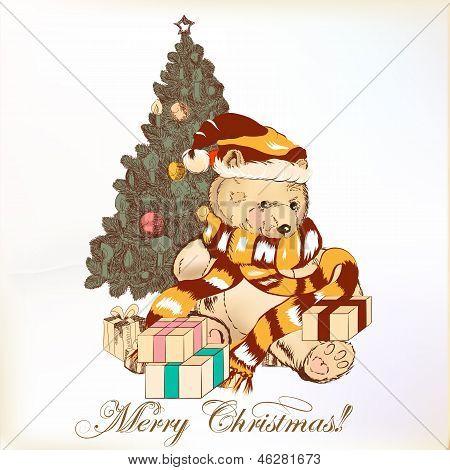 Christmas Greeting Card With Plush Bear And Christmas Tree