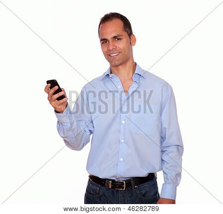 Charming Adult Man Calling On Cellphone