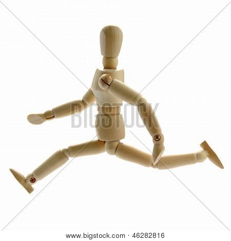 Running wooden manikin