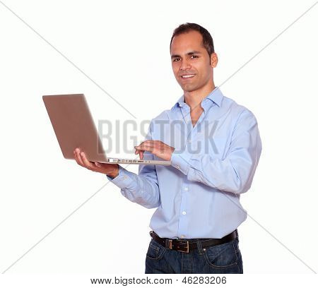 Smiling Adult Man Working On Laptop Computer
