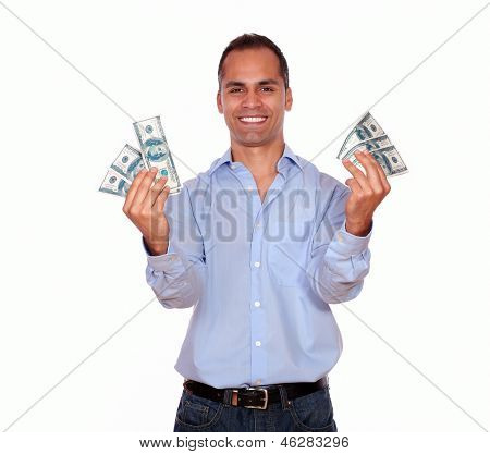 Happy Adult Man Holding Cash Money