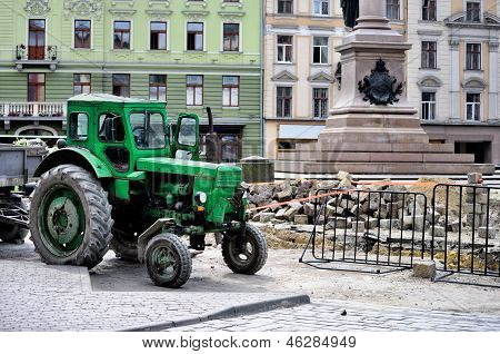 Tractor On Construction Site