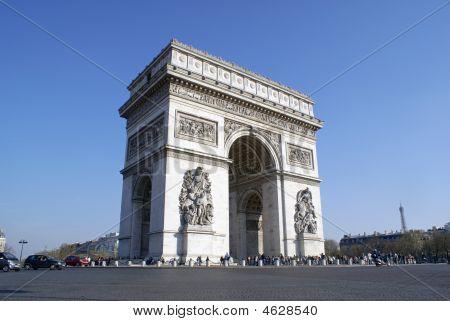 Arc De Triomphe, Paris, With Eiffel Tower