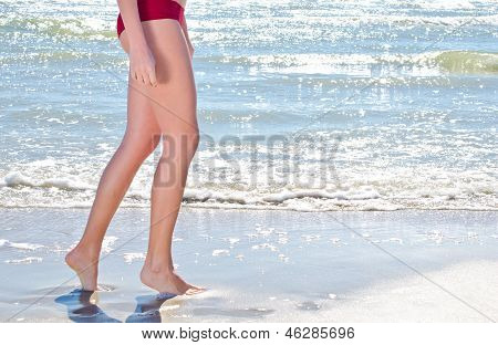 Walking on the beach.