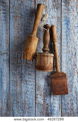 retro kitchen utensils  on old wooden table in rustic style