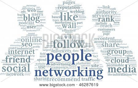 People networking concept in word tag cloud on white background