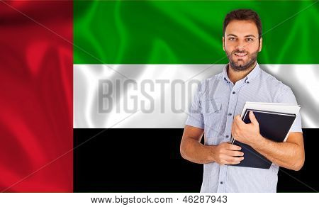 Male Student Of Languages ??on Arabic Flag
