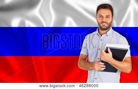 Male Student Of Languages ??on Russian Flag