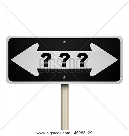 A road sign with question marks and arrows pointing left and right