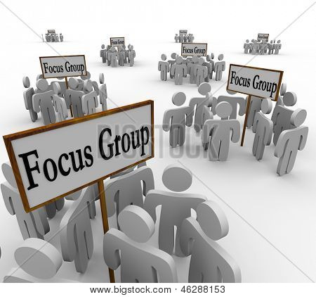 Many groups of customers representing several distinct demographics gathered in meetings around signs reading Focus Group