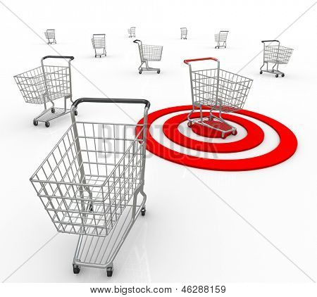 A red bullseye targets one unique customer out of several consumers so a company or business can identify what the shopper's needs and interests are so they may sell to that person