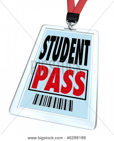 A student pass in badge holder and with lanyard that a school pupil would wear on a special event or field trip for educational purposes
