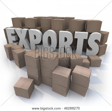 The word exports in a warehouse of cardboard boxes full of shipping products from other countries that an international trade merchant would sell to customers