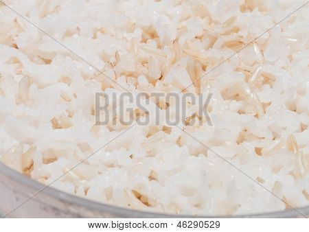Close Up Of Cooked Mix White And Brown Rice