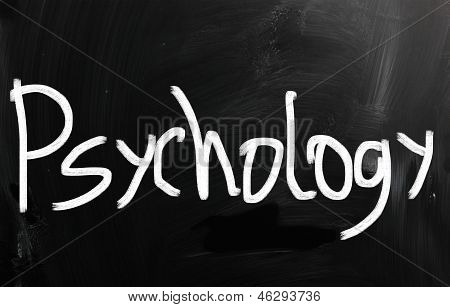 'psychology' Handwritten With White Chalk On A Blackboard