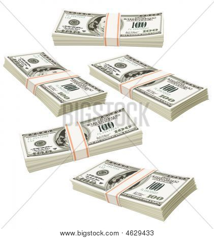 Flying Packs Of Dollars Money Isolated