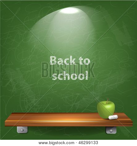 Green chalkboard vector background, back to school concept.