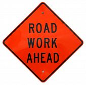 image of road construction  - road work ahead sign - JPG
