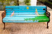 artistic painter bench in Santiago