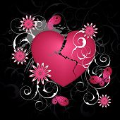pic of broken heart flower  - Black emo background with heart and flowers - JPG