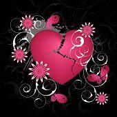 foto of broken heart flower  - Black emo background with heart and flowers - JPG