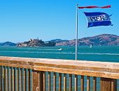 Alcatraz Island From Pier 39 In San Francisco California Usa
