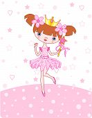 stock photo of princess crown  - A vector illustration of a happy little princess over pink background - JPG