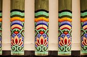 pic of rafters  - An architectural detail showing a row of painted rafters in a Korean royal palace - JPG