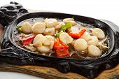 stock photo of scallops  - Fried Sea Scallop with Vegetables - JPG