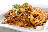stock photo of noodles  - Chicken with Rice Noodles and Vegetables - JPG