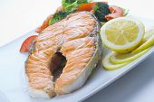 Fresh Salmon Cooked With Salad poster